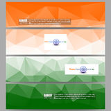 Set of modern banners. Background for Happy Indian Independence Day celebration with Ashoka wheel and national flag Royalty Free Stock Photos