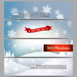 Set of modern banners. Christmas greeting headers Royalty Free Stock Photo