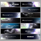 Set of modern banners. Electric lighting effect. Magic vector background with lightning. Royalty Free Stock Images
