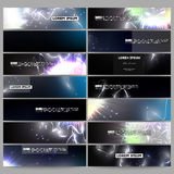 Set of modern banners. Electric lighting effect. Magic vector background with lightning. Stock Photos