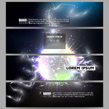 Set of modern banners. Electric lighting effect Stock Photo