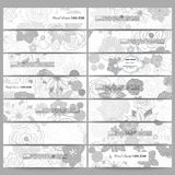 Set of modern banners. Hand drawn floral doodle pattern, abstract vector background Royalty Free Stock Images