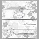 Set of modern banners. Hand drawn floral doodle Stock Image