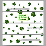 Set of modern banners. St Patricks day vector background, green clovers on white Stock Image