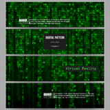 Set of modern banners. Virtual reality, abstract technology background with green symbols, vector illustration. Stock Photography