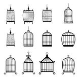 Set of modern bird cages. editable Royalty Free Stock Photo