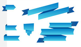 Set of modern blue ribbons Royalty Free Stock Photography