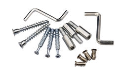 Set of modern bolts and screws for furniture assem Stock Photos