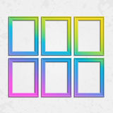Set of modern bright frames. Set of colorful wooden frames. Wooden square picture frames of colorful set for your web design. Abstract colorful picture frames on Stock Images