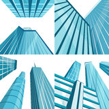 Set of modern buildings in the city. Cartoon vector illustration Stock Images