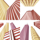 Set of modern buildings in the city. Cartoon vector illustration stock illustration