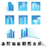 Set of modern buildings icons Royalty Free Stock Photo