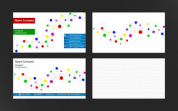Set of modern business cards  with dots connection. Bright color Royalty Free Stock Photography