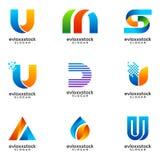 Set Of Modern Business Logo Design Template stock illustration