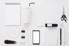 Set of modern businessman accessories flat lay Royalty Free Stock Photo