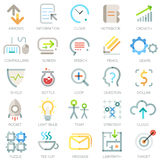 Set of 25 modern bussiness icons. Vector. Set of 25 minimal business icons in outline style. Vector. Can be used for web design, workflow layout and infographic Stock Photos