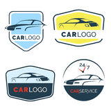 Set of modern car emblems, badges and icons. Modern sports car silhouette logo design template Stock Photo