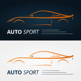 Set of modern car emblems. Sports car silhouette. Logo design template for car service Stock Photography
