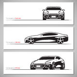 Set of modern car silhouettes, contours  on white background Royalty Free Stock Photography