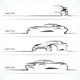Set of modern car silhouettes. Royalty Free Stock Photo