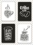 Set of modern cards with coffee elements and lettering. Trendy hipster templates for flyers, invitations, menu design. Royalty Free Stock Images