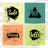 Set of modern cards with decor of abstract geometric spots. Background of the ink spots. Offer sale on grunge background. Universal Square cards with template Stock Photos
