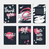 Set of modern cards with the decor of abstract grunge spots. Invitations to the background of the ink spots. Universal. Vertical cards with template design for Stock Photos