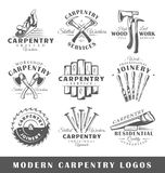 Set of modern carpentry labels. Posters, stamps, banners and design elements. Vector illustration stock illustration