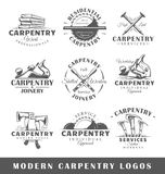 Set of modern carpentry labels. Posters, stamps, banners and design elements. Vector illustration royalty free illustration