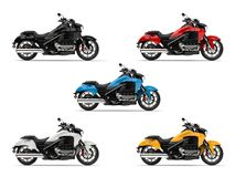 Set of modern chopper bikes in all base colors. 3D Illustration Stock Images