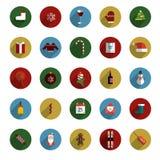 Set of Modern Christmas Flat Style Icons stock illustration