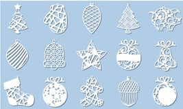 Set of Modern Christmas Tree. New Year`s Toy for laser cutting. Vector illustration.  royalty free illustration