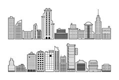 Set Of Modern City Buildings Black And White Contour Style Royalty Free Stock Image