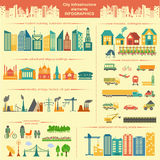 Set of modern city elements for creating your own maps of the ci Royalty Free Stock Photos