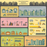 Set of modern city elements for creating your own maps of the ci Royalty Free Stock Photo