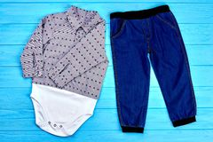Set of modern clothes for baby-boy. Royalty Free Stock Images