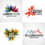 Set of modern colorful abstract logo emblem vector Royalty Free Stock Photos