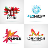 Set of modern colorful abstract logo emblem vector Stock Photo