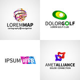 Set of modern colorful abstract web alliance golf. Map logo emblem vector design elements Stock Photo
