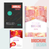Set of Modern colorful Brochure cover design templates with abstract geometric linear maze and polygon shapes for your Stock Photos