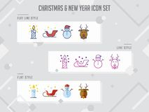 Set of Modern colorful christmas icon vector, new year and celeb stock illustration