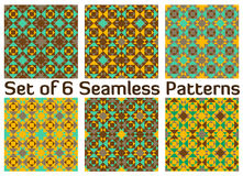Set of 6 modern colorful geometric seamless patterns with triangles and squares of green, grey, brown and yellow shades Stock Images
