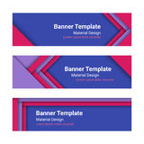 Set of modern colorful horizontal vector banners in a material d Royalty Free Stock Photos