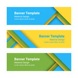 Set of modern colorful horizontal vector banners in a material design style.  Stock Image