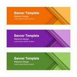 Set of modern colorful horizontal vector banners in a material design style.  Royalty Free Stock Photo