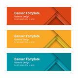 Set of modern colorful horizontal vector banners in a material design style. Can be used as a business template or in a web design. Vector illustration Stock Photos
