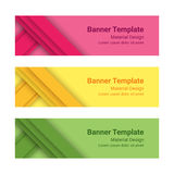 Set of modern colorful horizontal vector banners in a material design style. Can be used as a business template or in a web design. Vector illustration Stock Photography