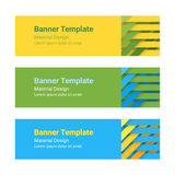 Set of modern colorful horizontal vector banners in a material design style. Can be used as a business template or in a web design. Vector illustration Stock Image