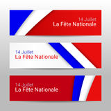 Set of modern colorful horizontal vector banners, page headers with text 14 July National Day of France. Royalty Free Stock Images