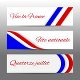Set of modern colorful horizontal vector banners, page headers with text 14 July, National Day, long live the France. Royalty Free Stock Photography